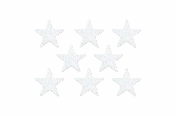 8 Confettis étoiles pailletés - blanc