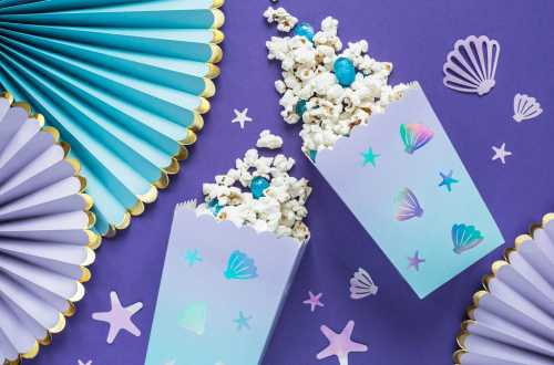 6 boîte à popcorn motifs coquillages et étoiles de mer – Bleu océan