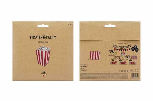 6 Boîtes de popcorn - bandes rouges