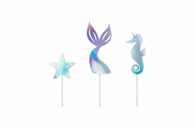 3 Toppers pour cupcakes - Sirène irisé