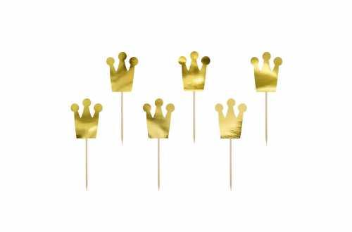 6 Toppers pour cupcakes - couronnes doré