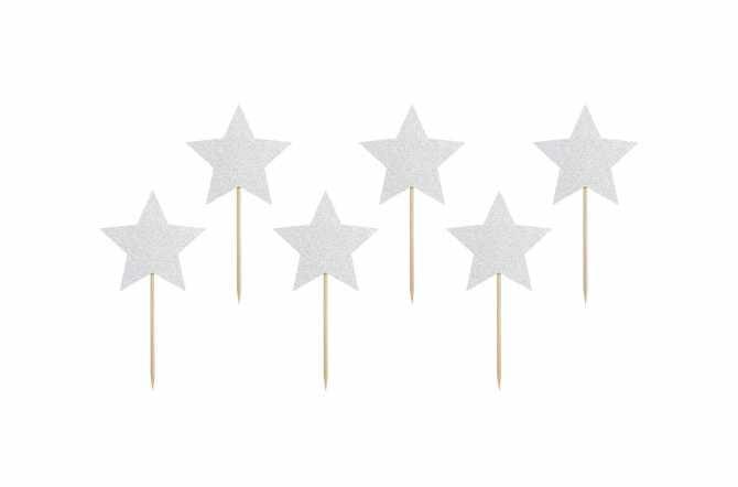 6 Toppers pour cupcakes - étoile argenté pailleté