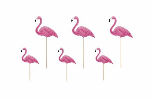 6 Toppers pour cupcakes - Flamants