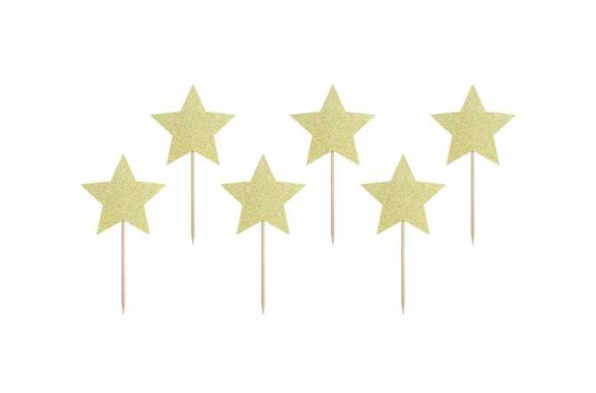 6 Toppers pour cupcakes - étoile doré pailleté