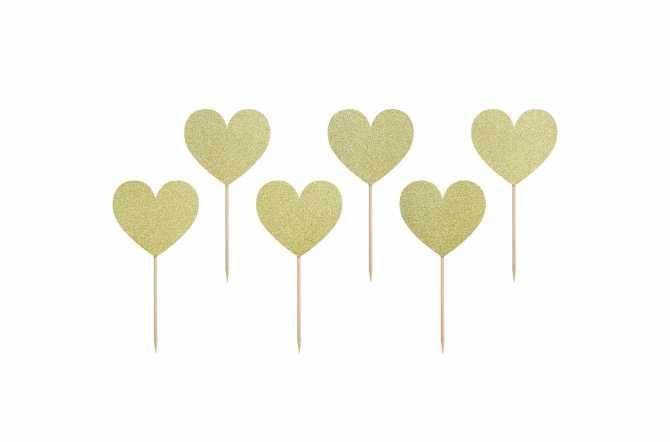 6 Toppers pour cupcakes - Coeur doré pailleté