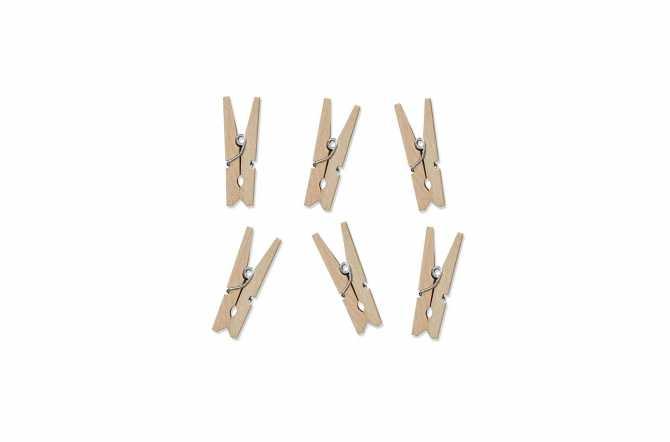 10 Mini pinces à linge en bois
