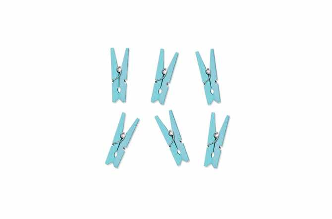 10 Mini pinces à linge en bois bleu ciel