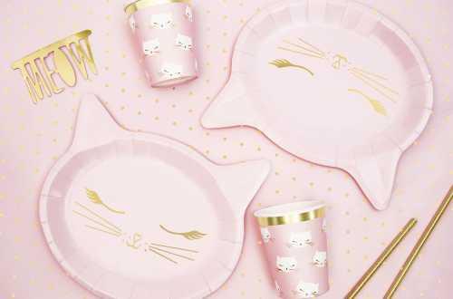 6 Assiettes Chat – Rose et doré