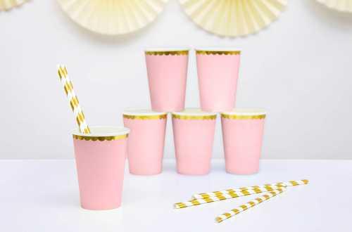 6 Gobelets rose à bord doré