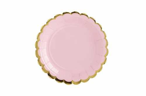 6 Assiettes rose pastel à bord doré