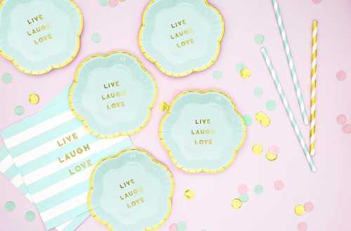 6 Minis assiettes bleu pastel - Live Laugh Love