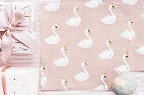 20 Petites serviettes cygne