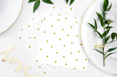 20 Petites serviettes motifs cœurs doré