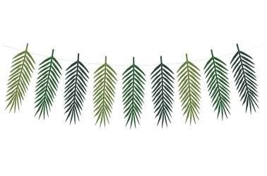 Guirlande 9 feuilles tropicales – nuances de vert