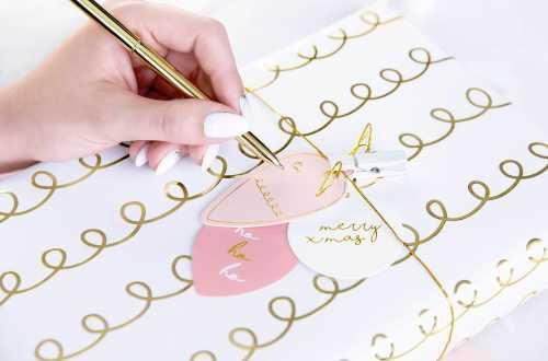 Rouleau de 2 feuilles de papier cadeau - Bouclettes doré et traits multi-couleurs