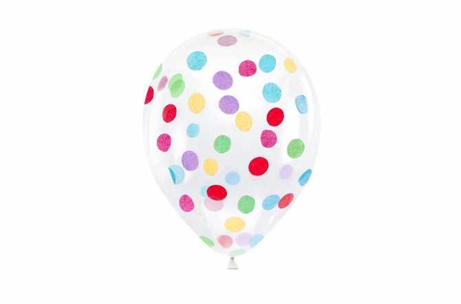 6 Ballons transparents à confettis colorés