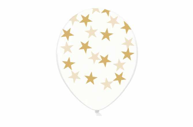 6 Ballons transparents imprimés - étoiles taupes dorées