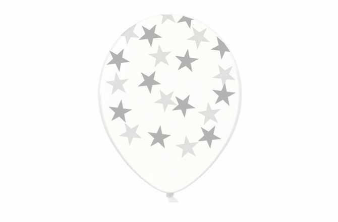 6 Ballons transparents imprimés - étoiles argentées
