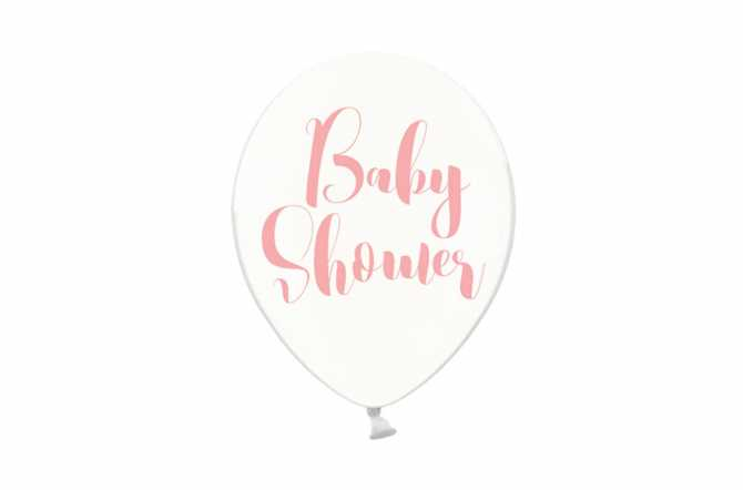 6 Ballons transparents imprimés - Baby Shower rose