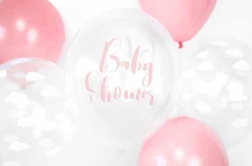 6 Ballons transparents imprimés - Baby Shower rose