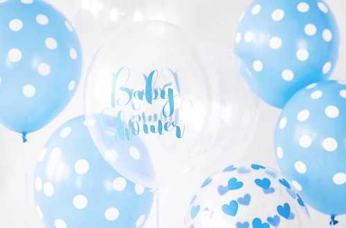 6 Ballons transparents imprimés - Baby Shower bleu