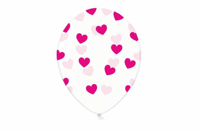 6 Ballons transparents imprimés - coeurs rose fuchsia