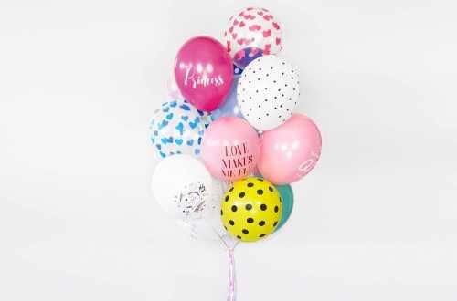 6 Ballons transparents imprimés - coeurs rouge