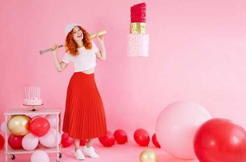 10 Ballons de baudruche -  rouge coquelicot pastel