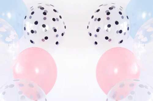 6 Ballons transparents imprimés - confettis noir