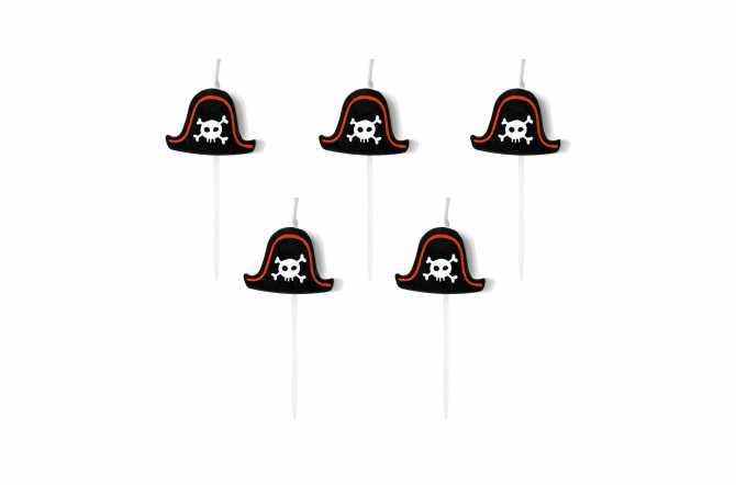 5 Petites bougies chapeau de pirate