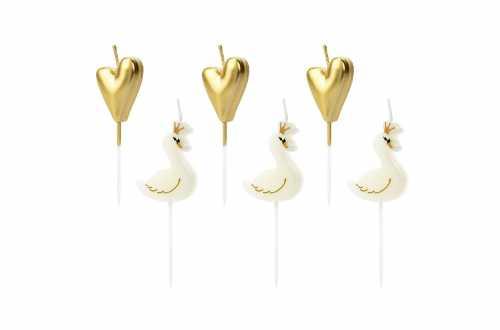 6 Petites bougies coeurs dorés et cygnes
