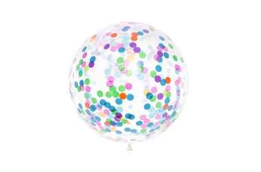 Grand ballon transparent à confettis colorés