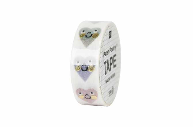 Masking tape – cœurs pastel souriants