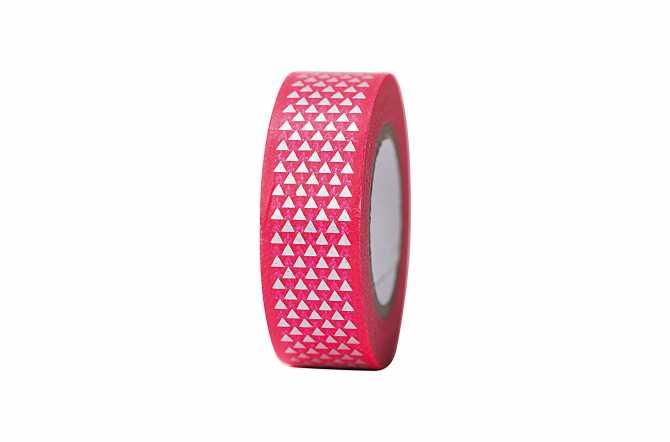 Masking tape – rose rouge à triangles irisés