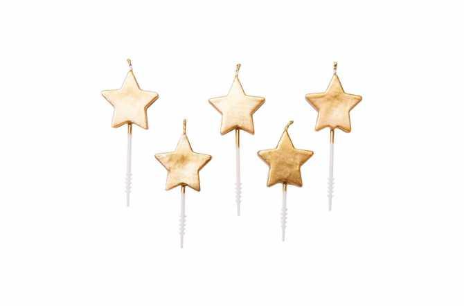5 bougies étoile - doré