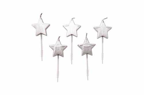 5 bougies étoile - argenté
