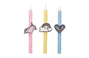 Set de 3 bougies Licorne et Arc-en-ciel