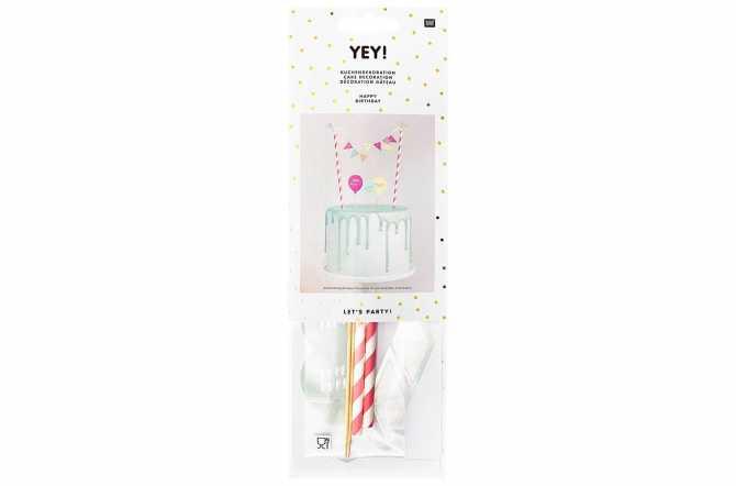 Set de décoration joyeux anniversaire multicouleurs pastels - DIY