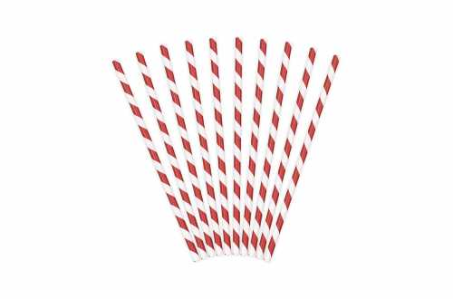 10 Pailles à rayures rouges