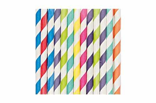24 Pailles en papier – multi-couleurs