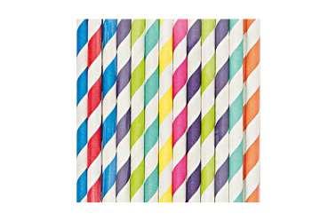 24 Pailles en papier mix couleurs