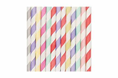 24 Pailles en papier – multi-couleurs pastels