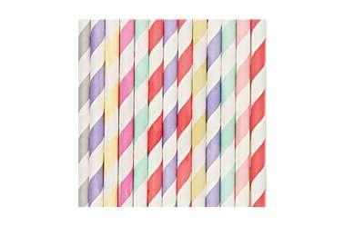 24 Pailles en papier mix couleurs pastels