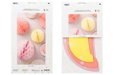 3 Boules alvéolées décoratives – été pastel