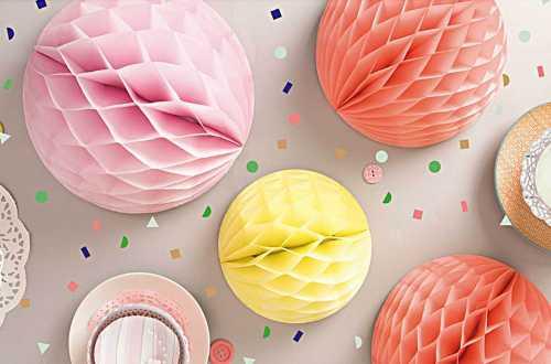 Boule alvéolées décoratives – été pastel