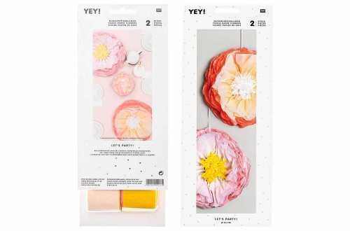 2 Grandes fleurs en papier de soie - printemps pastel