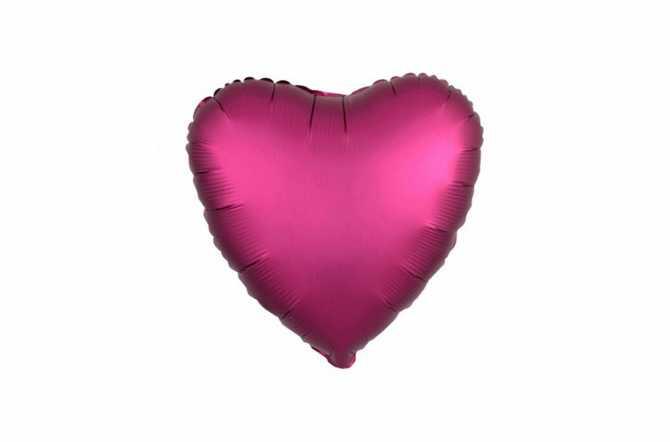Ballon aluminium Cœur rose grenade satiné mat - 40 cm