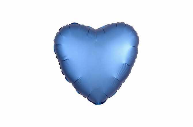 Ballon aluminium Cœur bleu azur satiné mat - 40 cm