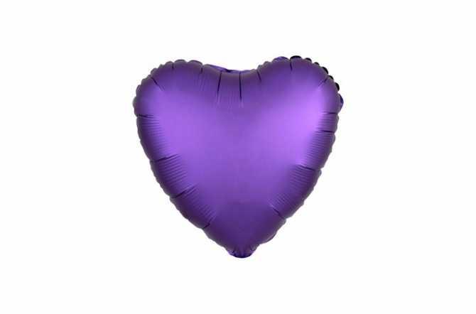 Ballon aluminium Cœur violet satiné mat - 40 cm