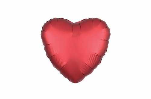 Ballon aluminium Cœur rouge satiné mat - 40 cm